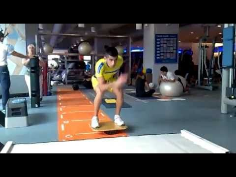 "improve core balance/strength in ""derby position"" on balance board"