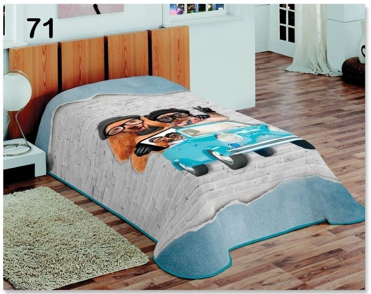 Sivomodré denné prehozy na postele so psíkmi