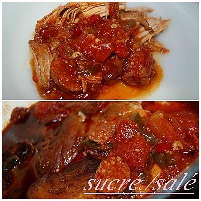 La meilleure recette de Rouelle de porc aux poivrons et chorizo! L'essayer, c'est l'adopter! 5.0/5 (3 votes), 3 Commentaires. Ingrédients: 1 rouelle 1 chorizo 1 poivron rouge 1 poivron vert 2 oignons 3 gousses d'ail 2 branche de céleri 1 grosse boîte de tomates pelées 2 cubes de bouillon de volaille 3 càc d'huile d'olive