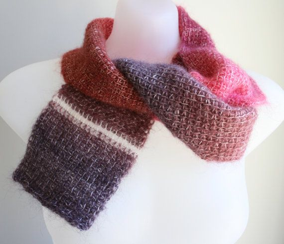 Mohair scarf in tunisian crochet by KororaCrafters