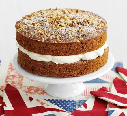 Coffee & walnut cake - The classic combo is made extra sumptuous with mascarpone frosting - a traditional sponge for cake sales and parties