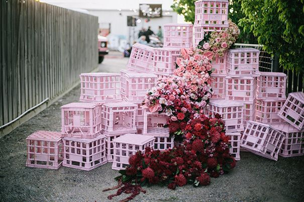 Pink Crate Floral installation  Carnival wedding styling