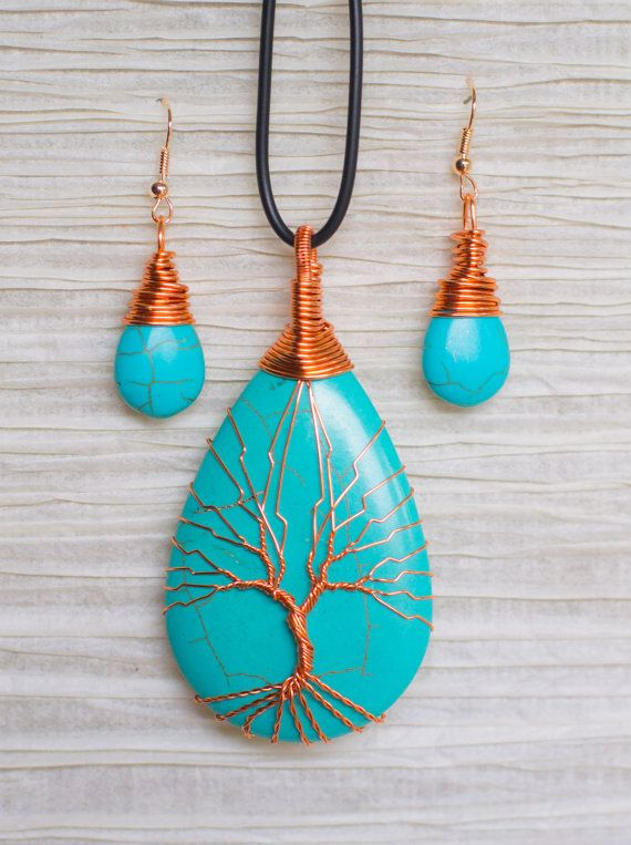 Tree of Life wire wrapped around Turquoise pendant. Pendant is 2. 5 inches in length. Earrings are approx 1 inch in length. All wire used…