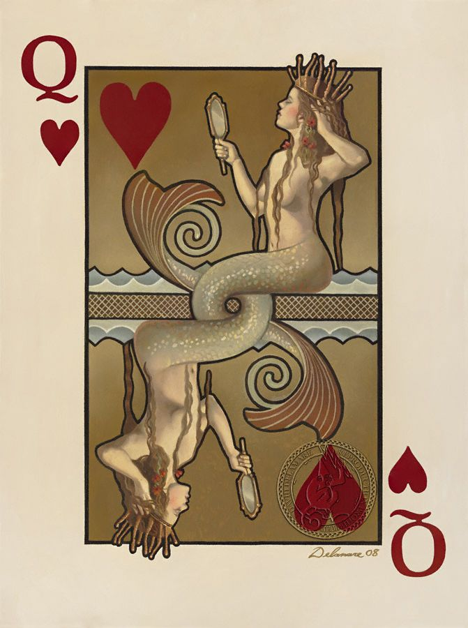 The Queen of Hearts as a Mermaid -- Poker Playing Card Paintings David Delamare | Really cool artwork.