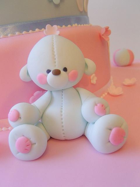 deborah hwang: Ideas, Fondant Bears, Fimo, Deborah Hwang, Blue Teddy, Polymer Clay Teddy Bears, Fondant Tutorials Bears, Cake Toppers, Baby Shower Cake
