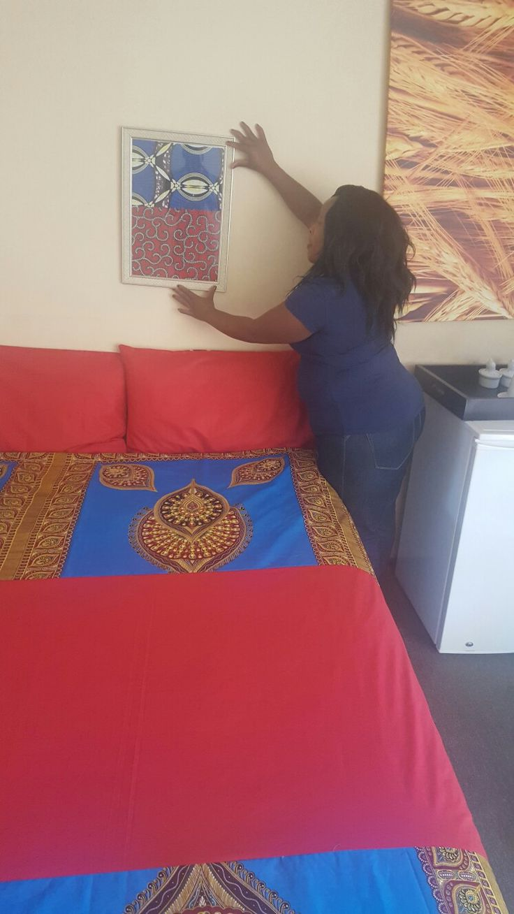 Duvet with African print made by Umoza my home is in Africa. Displayed at customers house.