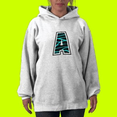 Turquoise & Black Zebra Letter A Hood Hoodie by aLLthELitTLeThiNgS: Pink Zebra, Zebra Letter, Allthelittlethings, Hooded Sweatshirts, Letters, Hoodie Created