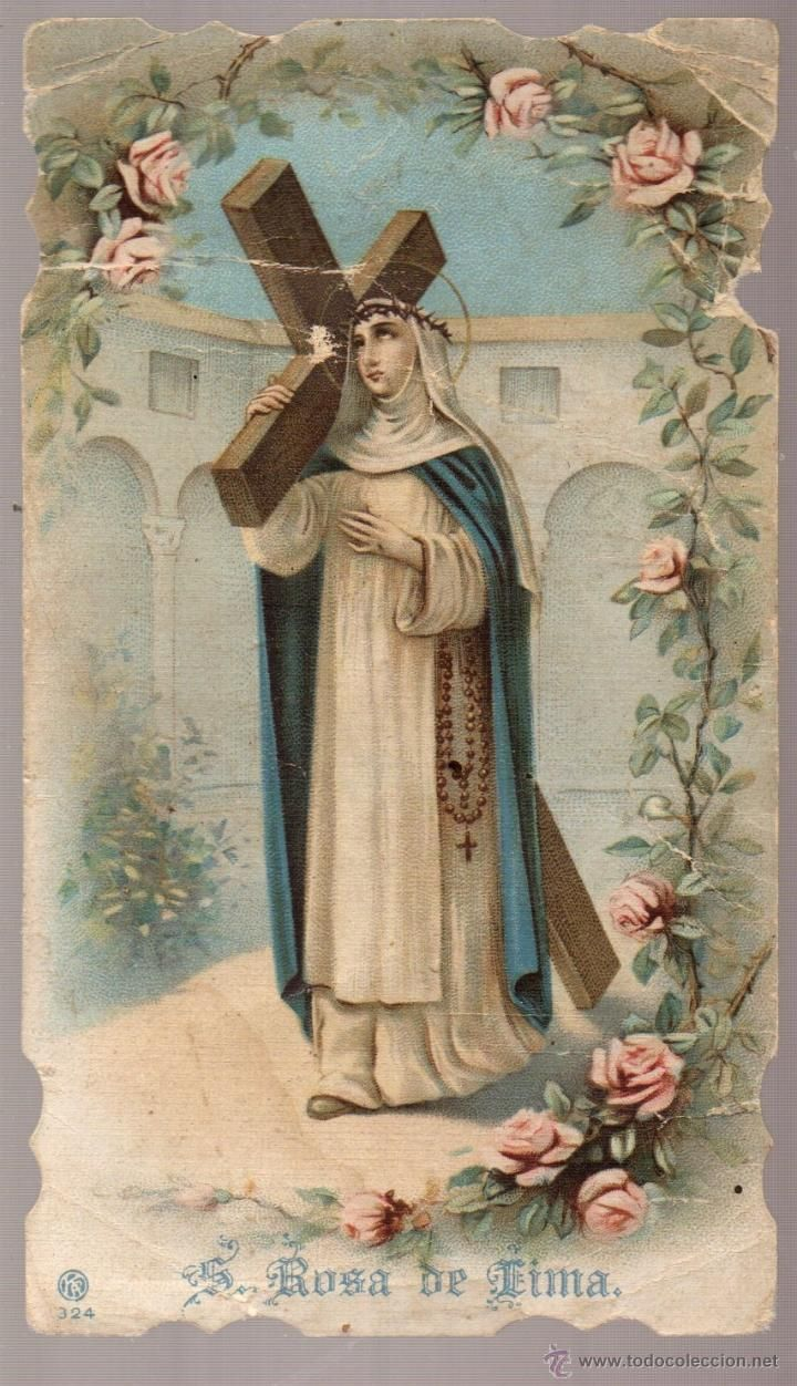 santa rosa de lima estampa muy antigua (Postales - Religiosas y Recordatorios)