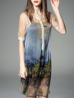 Blue Two Piece Silk Simple Stand Collar Midi Dress