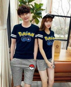 Kaos Couple Setelan Pokemon Go MTFA10 biru