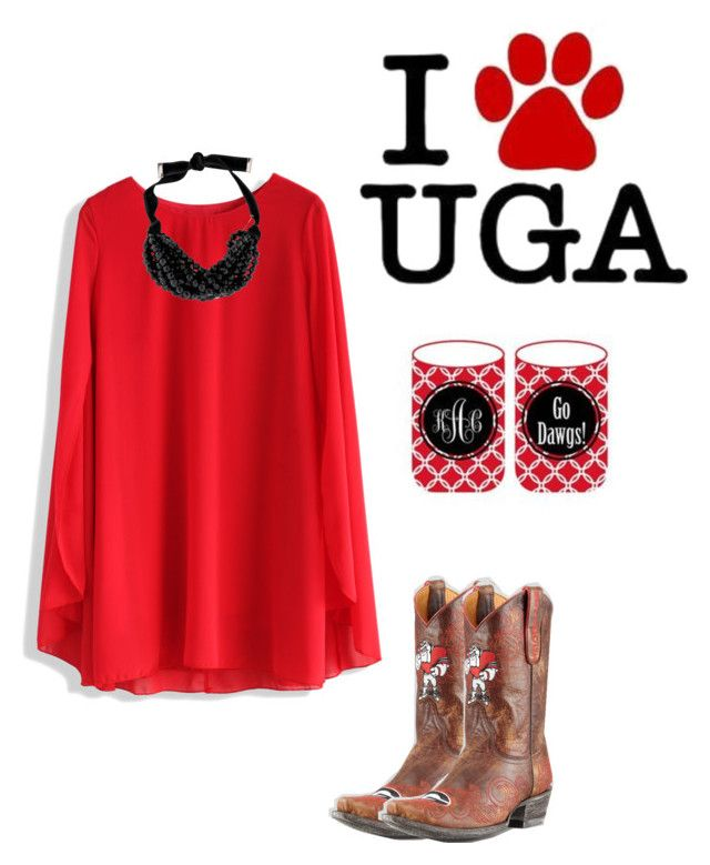 """Go dawgs! Tailgate outfit"" by kinleymarieforbis on Polyvore featuring Chicwish, Gameday Boots and Yves Saint Laurent"