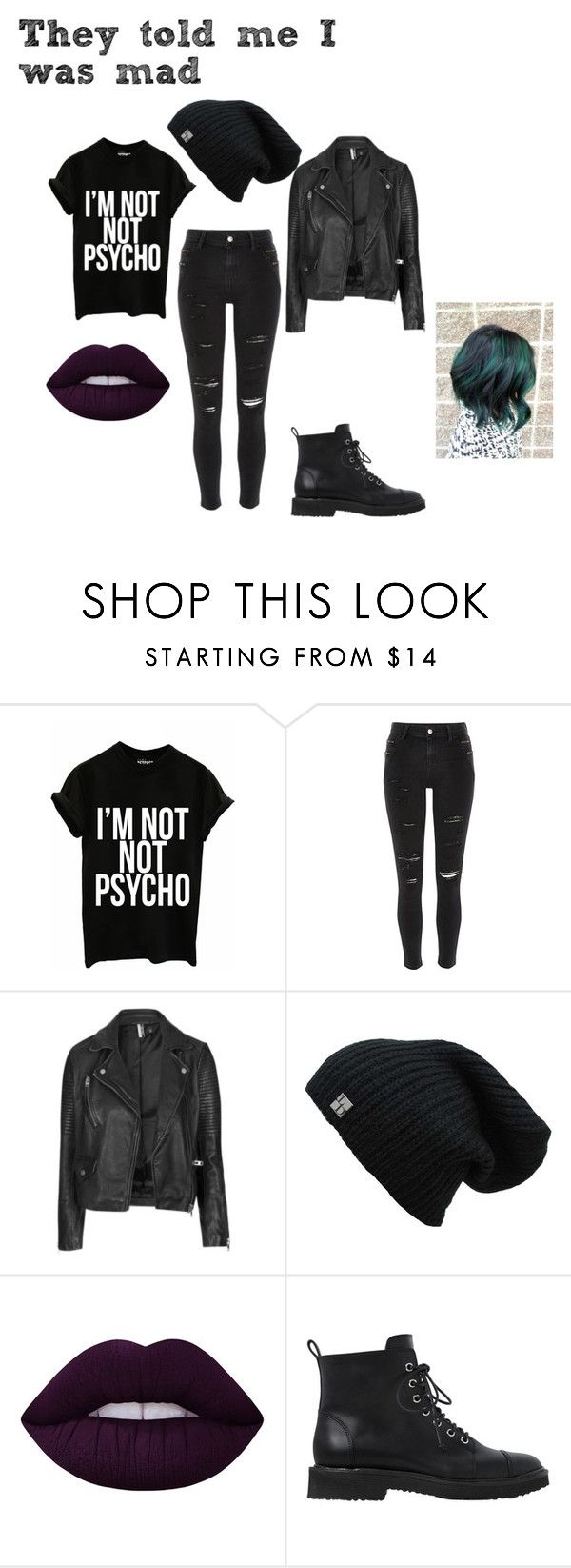 Pretty Little Psycho by whitenoiseiswatching on Polyvore featuring Topshop, River Island, Giuseppe Zanotti and Lime Crime