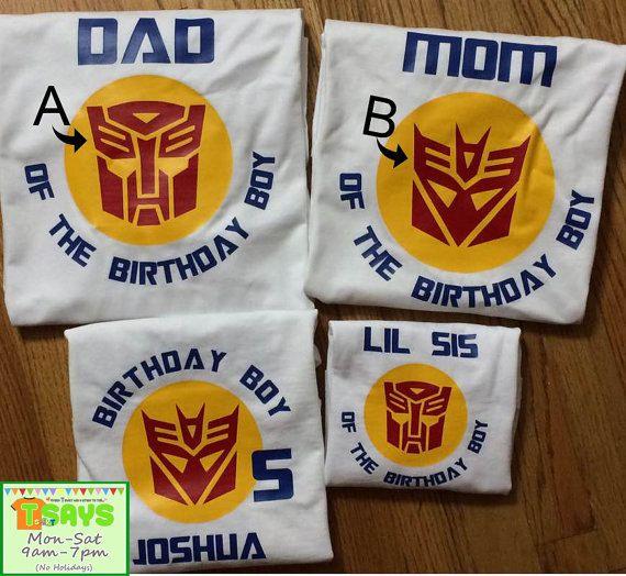 Transformer Birthday Family shirts