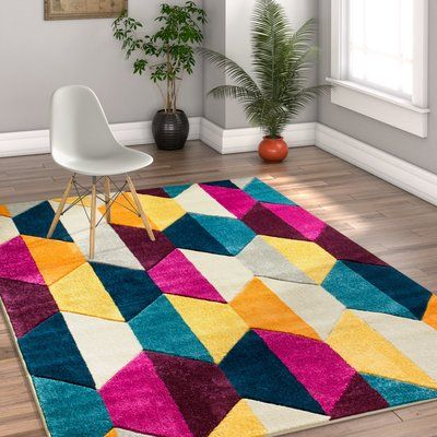 "Ebern Designs Herring Mid-Century Modern Polygon Shapes Cream Area Rug Rug Size: 7'10"" x 9'10"""