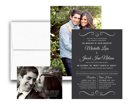 Option 2 Includes Full Color Invitations, Inserts, Custom Design, and Envelopes. Order today! www.utahannouncements.com