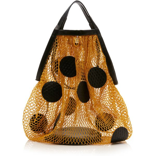 Maison Margiela Polka Dot Net Tote ($1,160) ❤ liked on Polyvore featuring bags, handbags, tote bags, yellow, brown tote handbags, transparent handbags totes, polka dot purse, handbags totes and polka dot tote