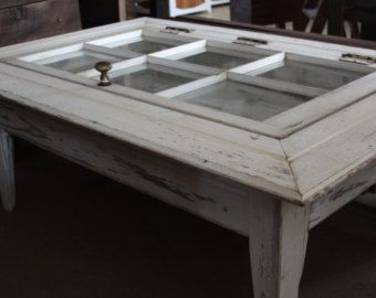 JUST SOLD Primitive shadow box barn wood coffee table and vintage window.  A relic door knob and rusty hinges & chain appeal to this flavor.
