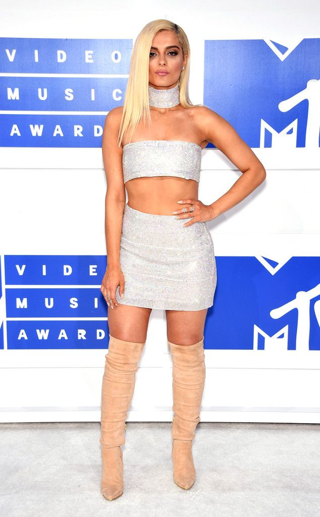 "Bebe Rexha from MTV Video Music Awards 2016 Red Carpet Arrivals  The ""Me, Myself & I"" songstress shimmers in a crystal skirt and matching crop top designed by Bryan Hearns."
