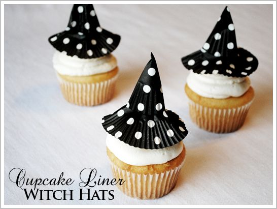 cupcake wrapper witch hats: Witch Hats, Cupcake Liners, Cupcakes Liner, Witches, Hats Cupcakes, Halloween Cupcakes, Liner Witch, Halloween Treats, Halloween Ideas