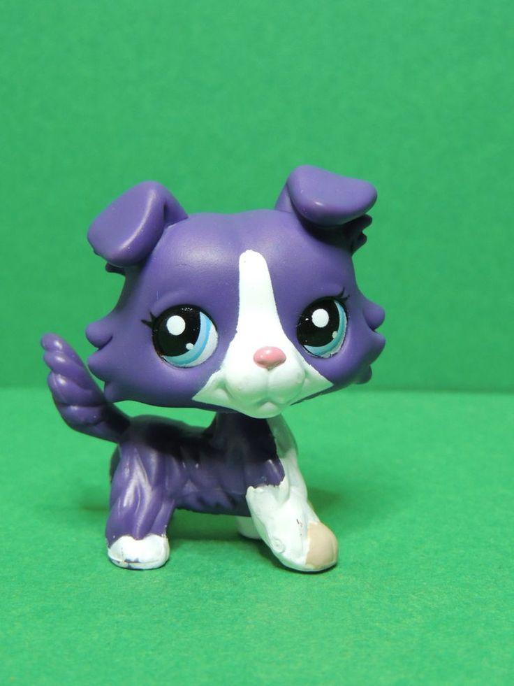 #1676 chien dog colley collie purple blue eyes LPS Littlest Pet Shop Figure