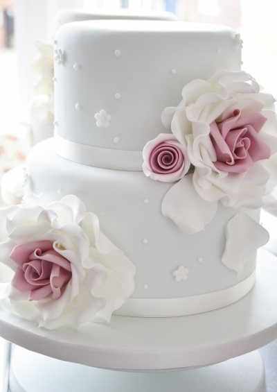 Two Tier rose cake By simpliwicked on CakeCentral.com