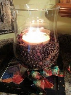 *****not for the smell, for the decorations =)***** Hazelnut coffee beans warmed by Hazelnut Cream candle give a delicious aroma! I have a coffee theme kitchen & this would be a great addition!