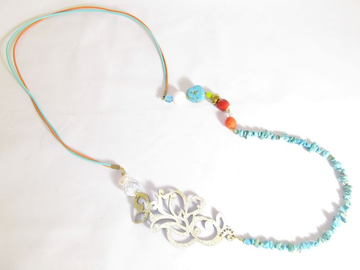 Handmade long necklace with gold leather filigree (1 pc)  Made with golf leather filigree, leather cords, semiprecious stones and glass beads.