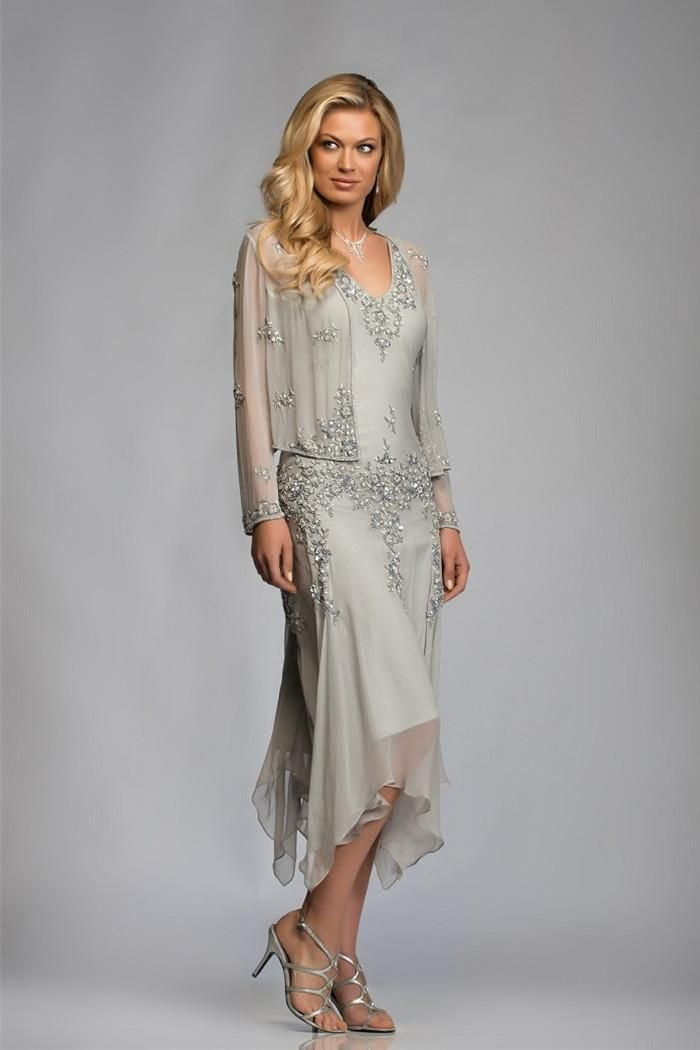 2016 A Line Chiffon Mother Of The Bride Dresses With Long Sleeves Beads Two Pieces Mid Carf Wedding Party Groom Gowns