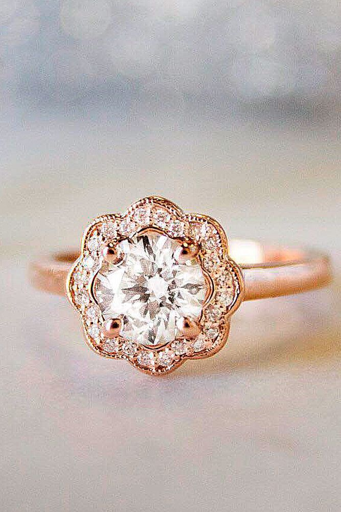 30 Top Round Engagement Rings ❤️ round engagement rings rose gold floral halo brilliant brilliantearth ❤️ See more: http://www.weddingforward.com/round-engagement-rings/ #weddingforward #wedding #bride #engagementrings #roundengagementrings
