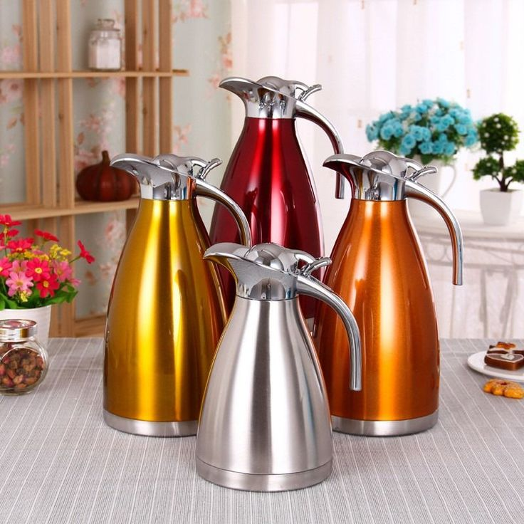 Melex 4 Color 1L 1.5L 2L Stainless Steel Coffee Thermos - Vacuum Flasks