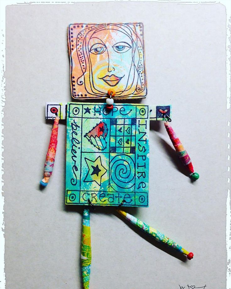 https://flic.kr/p/SL61Qh | Art Doll for a swap #gelliplate #gelliprint @gelliarts