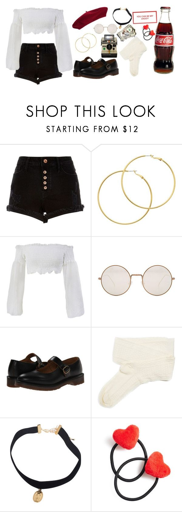 """nymphet"" by stilllaughingoutloud ❤ liked on Polyvore featuring River Island, Laulhere, Melissa Odabash, Illesteva, Dr. Martens, Fevrie and Ponytail Pals"
