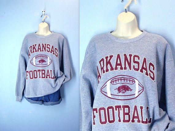 Vintage Arkansas Razorback Sweatshirt Football by SnapVintage, $28.00