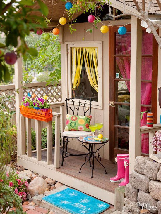 Give kids a serving spot of their own with this picture-perfect playhouse porch: http://www.bhg.com/home-improvement/porch/outdoor-rooms/small-outdoor-living-spaces/?socsrc=bhgpin032515playfulcolors&page=10