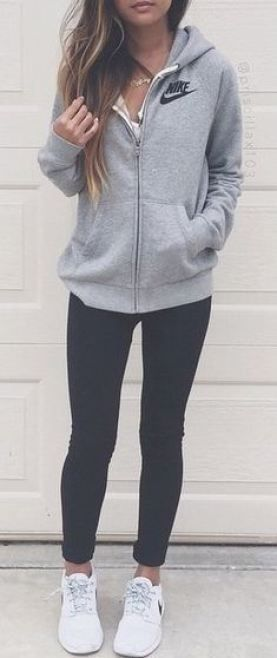 This is such a cute outfit with black leggings! Love this look.