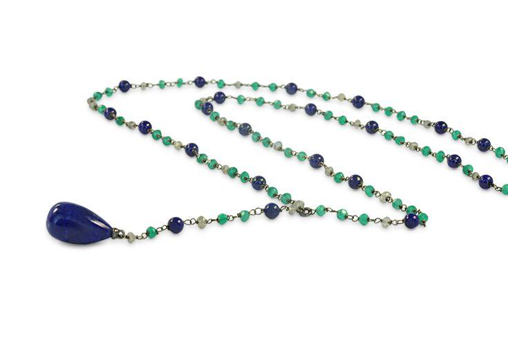 18 ct white gold lapis lazuli, labradorite & green agate necklace