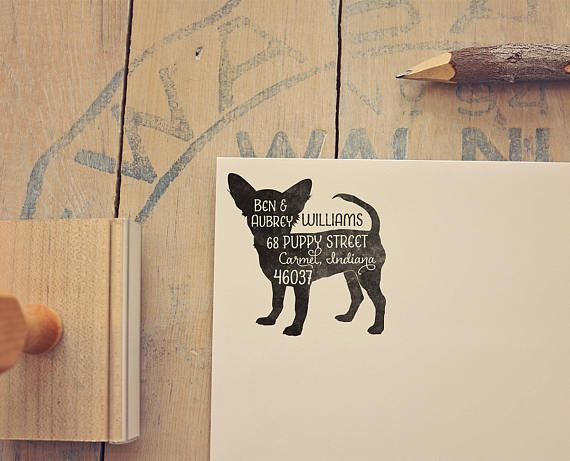 Chihuahua Address Stamp - Short Haired Chihuahua Dog Return Address Stamp - Personalized Dog Lover Gift - Rubber Stamp - Pet Address Stamp