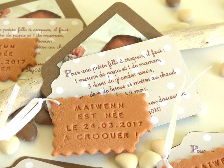 """Faire-part de naissance, thème gourmandise avec biscuit """"petit-beurre"""" personnalisé. Faire-part unique et original"""