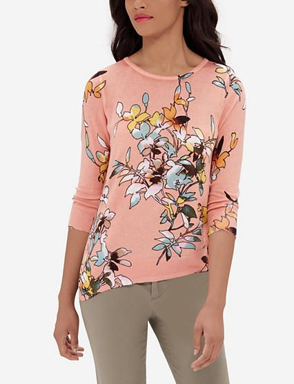 Asymmetrical Floral Print Sweater from THELIMITED.com