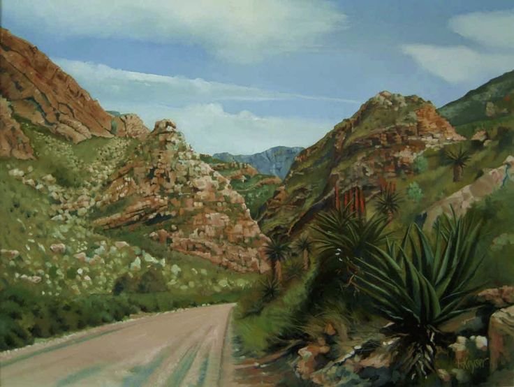 7 weeks gorge in the Black mountain range. The road crosses the river flowing through the gorge more than twenty time. Oil on Canvas