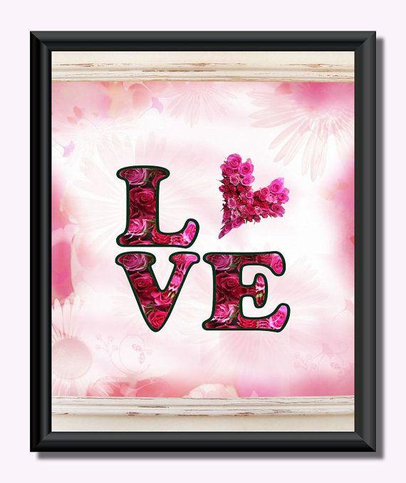 Love .  Floral  Heart . Valentine . Wall art by JohshiDesigns, $6.50