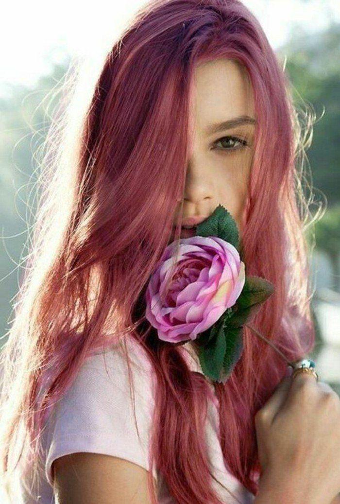 couleur de cheveux tendance 2017 cheveux rouge cerise qui tirent sur le rose - Coloration Cheveux Rouge Cerise