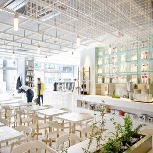 Tokyo cafe interior by CUT Architectures  is modelled on a laboratory