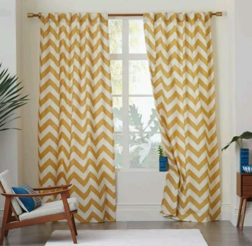 West-Elm-Zig-Zag-Chevron-Window-Panels-Curtains-Drapes-96-034-Maize-Yellow-set-of-2