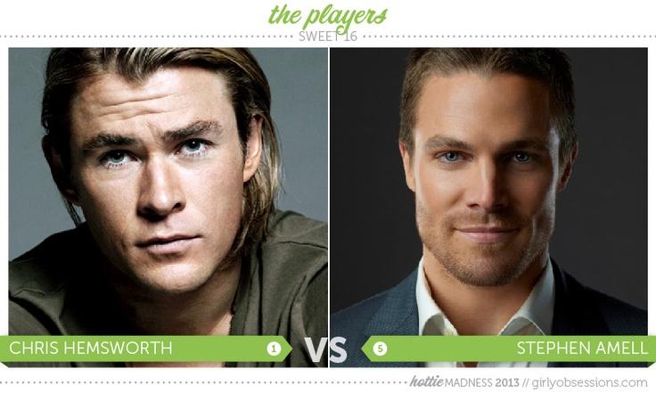 Hottie Madness, Sweet 16: Chris Hemsworth vs Stephen Amell. #hottiemadness