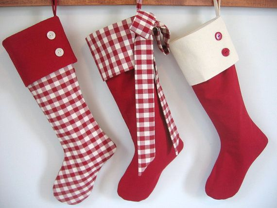 Christmas Stockings Set of five red and by ArtfullyHandcrafted