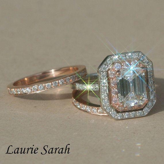 Rose Gold And Platinum Engagement Ring Emerald Cut Diamond Wedding Set With Pink Diamonds