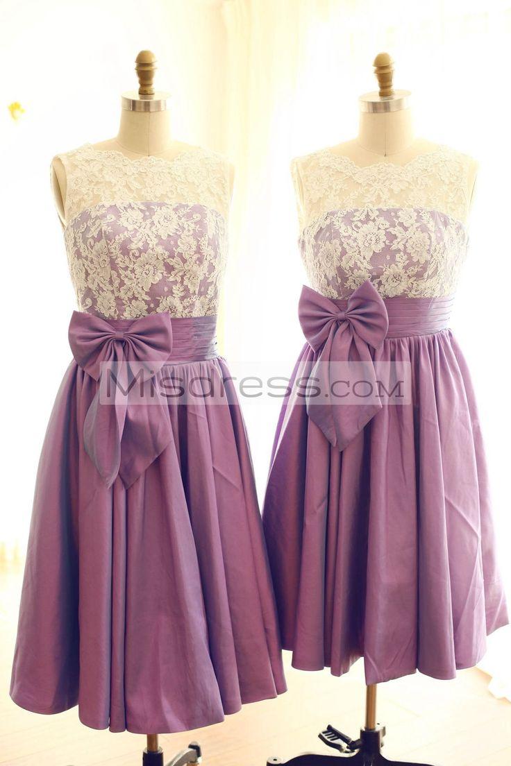 V Back Ivory Lace Purple Taffeta Tea Length Short Bridesmaid Dress --- Misdress.com