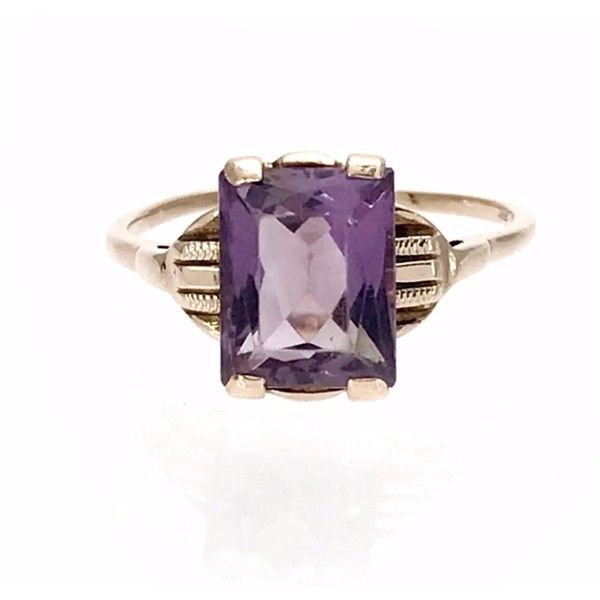 Art Deco Amethyst Gold Ring ($198) ❤ liked on Polyvore featuring jewelry, rings, amethyst gold ring, engraved rings, vintage amethyst ring, vintage gold rings and antique yellow gold rings