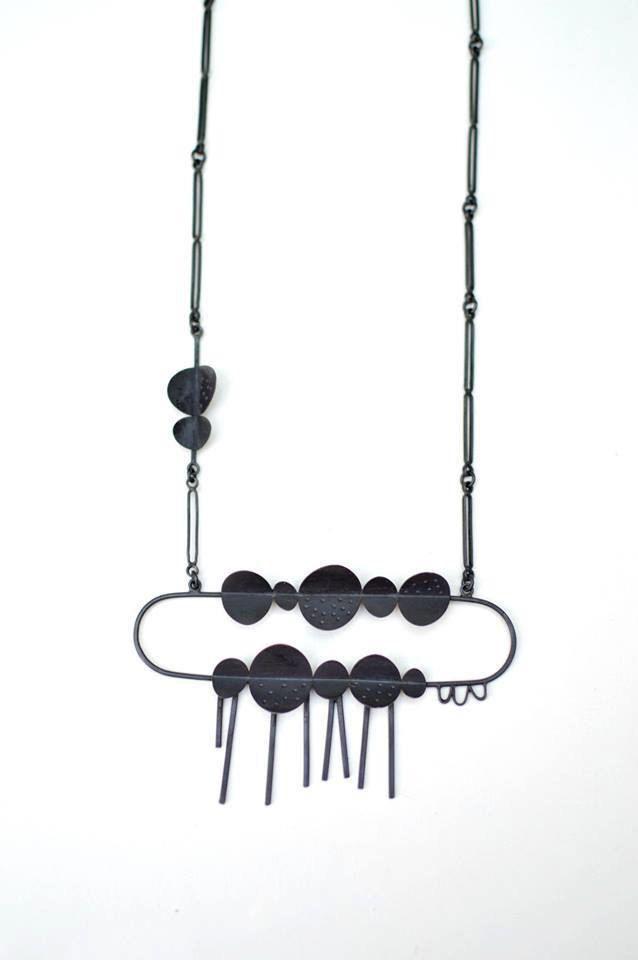 Black Cloud - Sterling Silver Necklace - Modern  Contemporary  Design - Oxidized Sterling Silver by maldonadojoyas, $430.00 USD